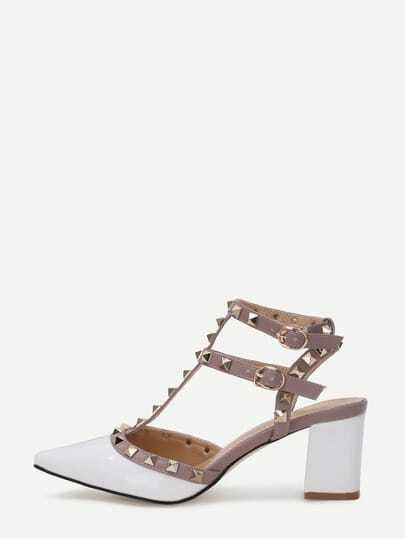 White Faux Patent Studded Block Heel Sandals
