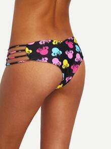 Ladder-Cutout Colorful Print Bikini Bottom