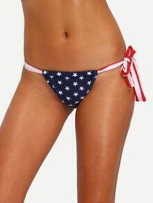 Stars & Stripes Print Tied Bikini Bottom