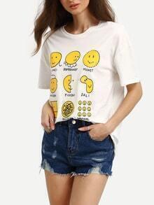 White Dropped Shoulder Seam Expression Print T-Shirt