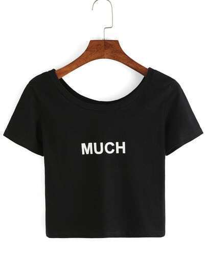 Scoop Neck Letters Print T-Shirt