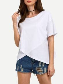 White Dropped Shoulder Seam Wrap T-Shirt