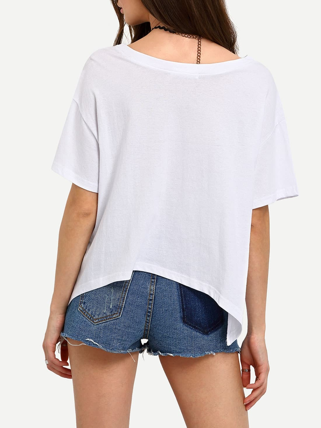 White dropped shoulder seam wrap t shirt shein sheinside for Wrap style t shirts