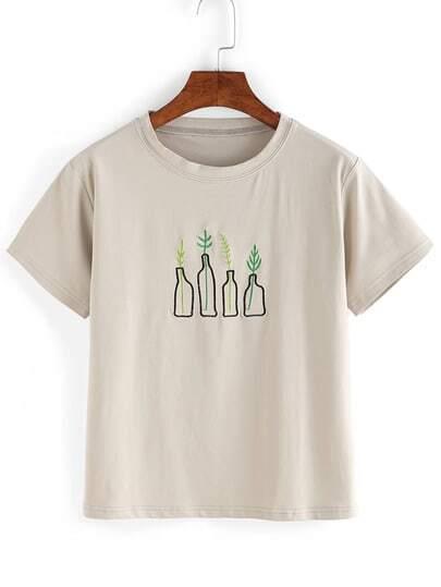 Grey plant embroidered t shirt shein sheinside