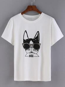 White Dog Print T-Shirt