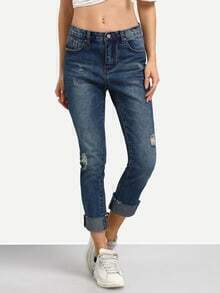 Blue Ripped Frayed Denim Pant