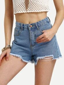 Blue High Waist Frayed Denim Short