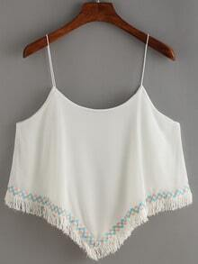 Spaghetti Strap Fringe Embroidered Chiffon Cami Top