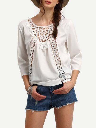 White Long Sleeve Hollow Out Shirt