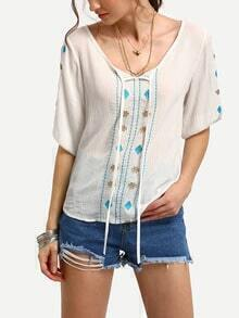Elbow Sleeve Lace Up Embroidered Shirt