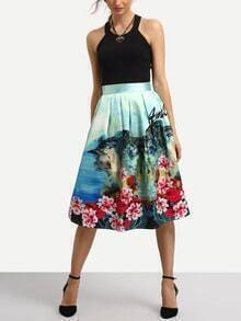 Green Florals High Waist A-Line Skirt