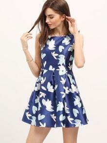 Blue Flower Print Flare Dress