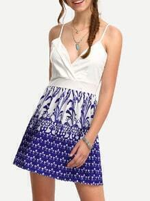 Spaghetti Strap Print Pleated Dress