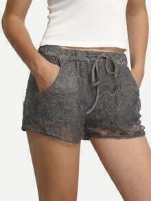 Grey Lace Shorts With Drawstring