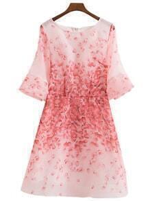 Multicolor Bell Sleeve Zipper Back Petal Print Dress