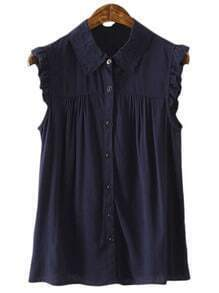 Navy Ruffle Sleeveless Buttons Front Lapel Blouse