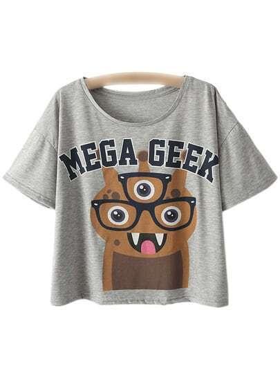 Light Grey Scoop Neck Letter Cartoon Print T-shirt