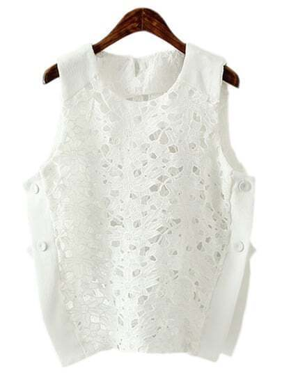 White Hollow Out Flower Lace Tank Top