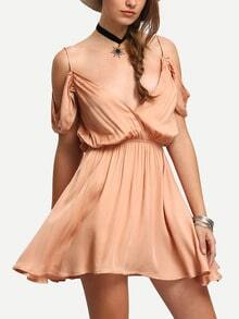 Pink Spaghetti Strap Drapped Back Peasant Dress