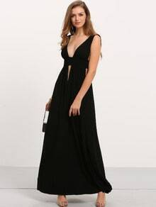 Black Deep V Neck Cut-out Maxi Dress