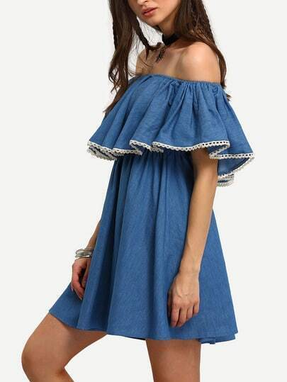 Demin Blue Off The Shoulder Ruffle Swing Dress