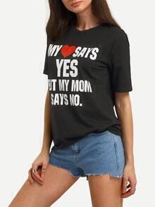 Black Letter Print Short Sleeve T-shirt