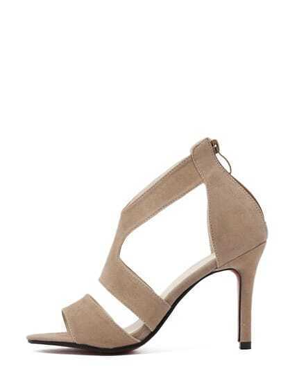 Apricot Fauxe Suede Strappy High Heel Sandals