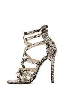 Faux Snake Embossed Leather Cutout Heeled Sandals