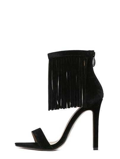 Black Faux Suede Ankle Fringe Heeled Sandals