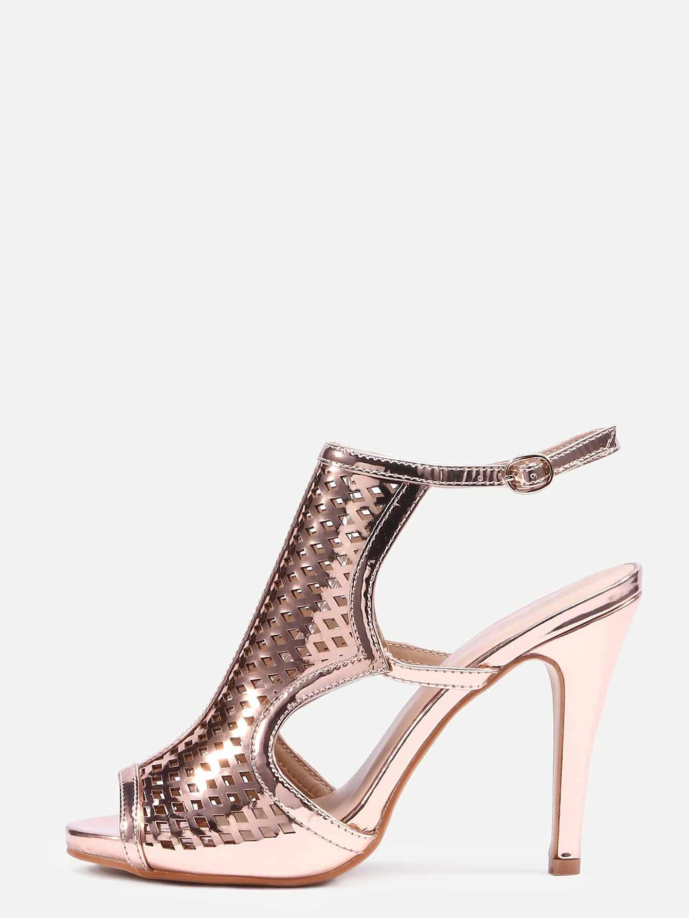 Rose Gold Laser-Cut High Vamp Heeled Sandals shoes16040846