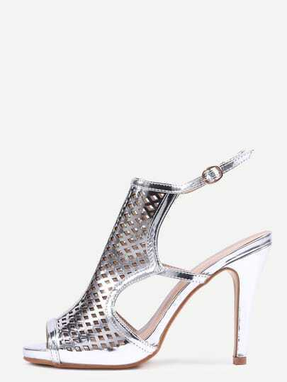 Silver Laser-Cut High Vamp Heeled Sandals