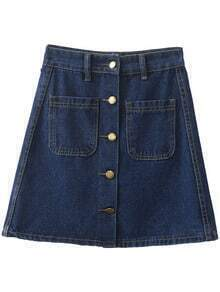 Blue Pockets Buttons Front Denim Skirt