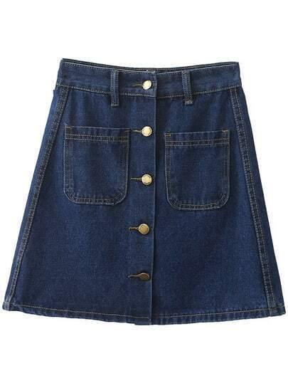 Blue Pockets Buttons Front Denim Skirt