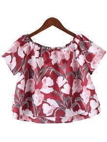 Multicolor Off The Shoulder Ruffle Floral Print Blouse