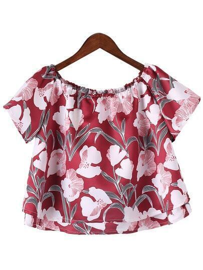 Blusa hombro al aire volantes flores -multicolor