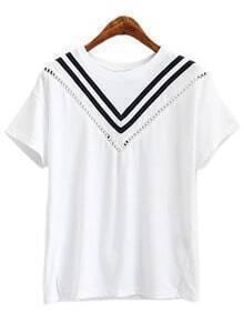 White Short Sleeve Contrast Stripe T-shirt
