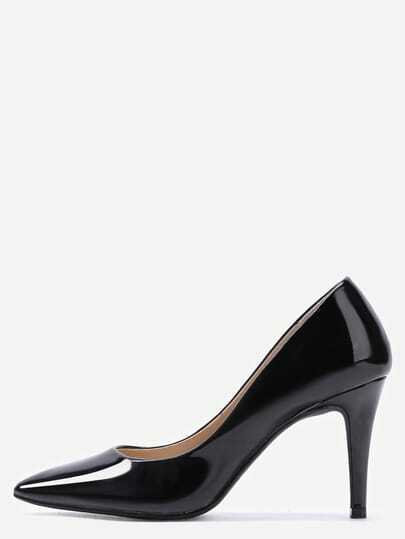 Black Faux Patent Leather Pointed Toe Pumps