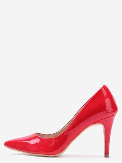 Red Faux Patent Leather Pointed Toe Pumps