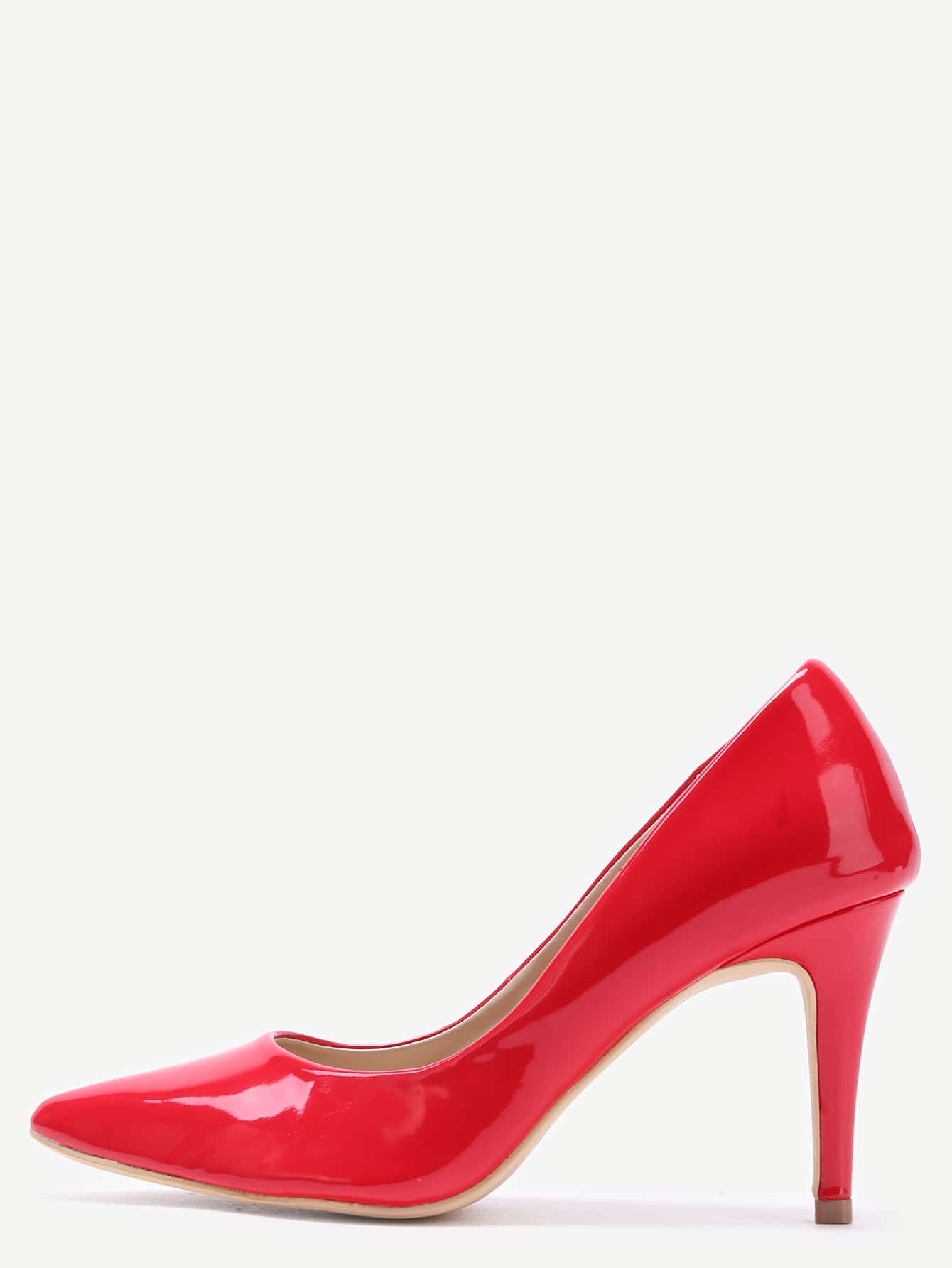 Red Faux Patent Leather Pointed Toe PumpsRed Faux Patent Leather Pointed Toe Pumps<br><br>color: Red<br>size: US8,US9