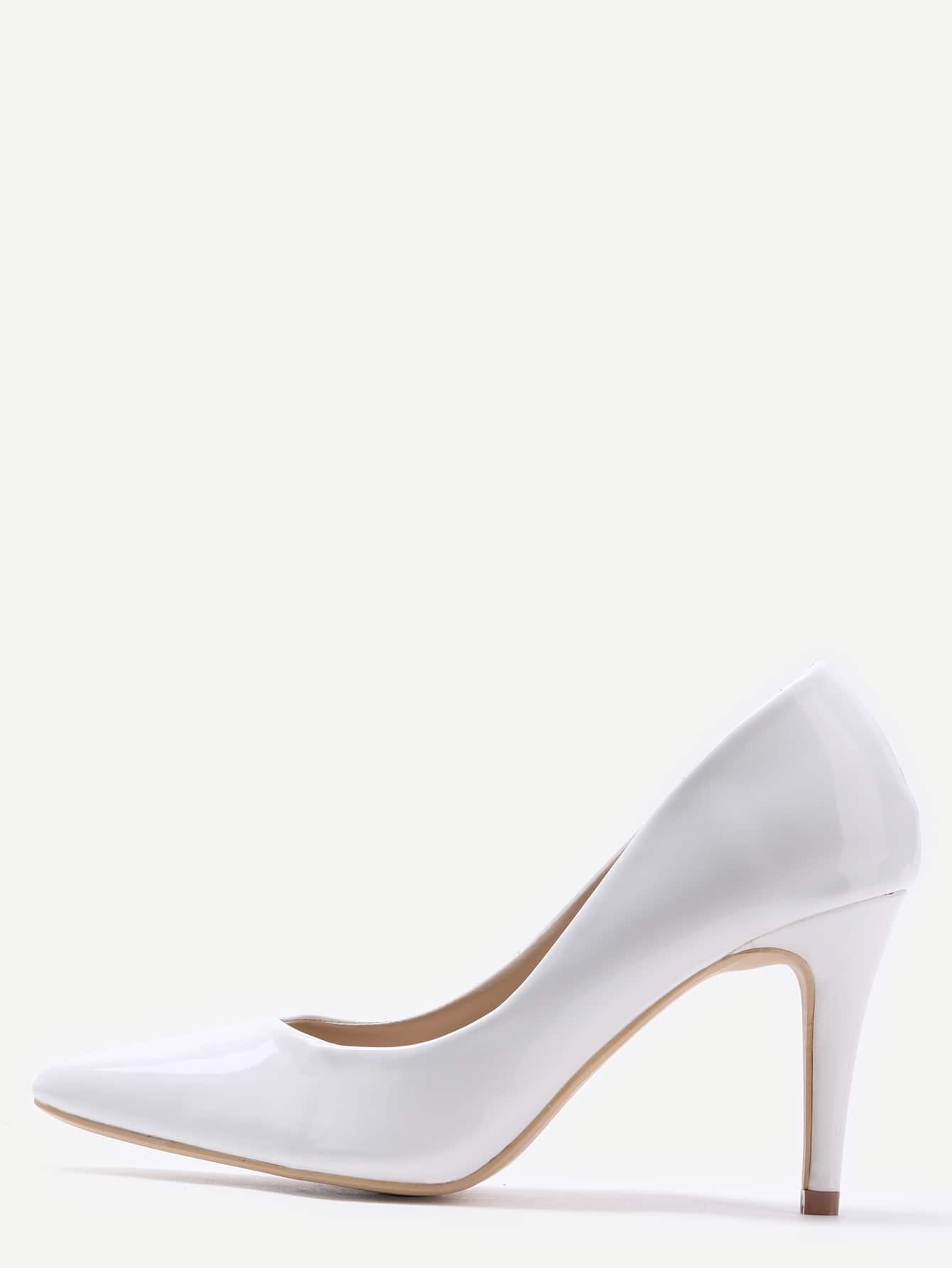 White Faux Patent Leather Pointed Toe PumpsWhite Faux Patent Leather Pointed Toe Pumps<br><br>color: White<br>size: US6.5,US6,US7.5,US7,US8