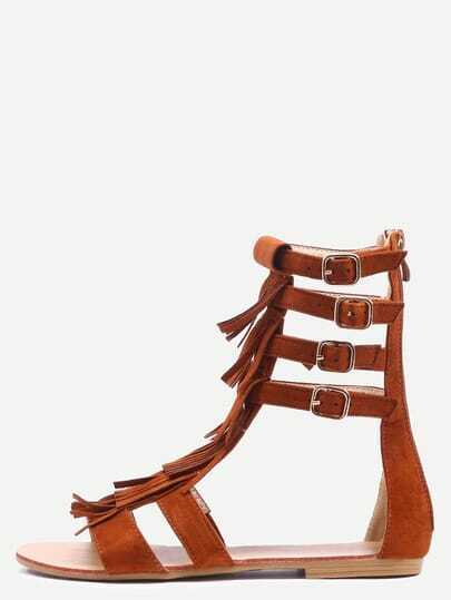 Light Tan Faux Suede Fringe Gladiator Sandals