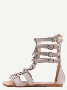 Apricot Faux Suede Fringe Gladiator Sandals