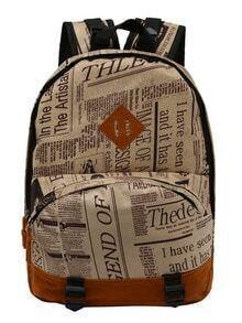 Newspaper Print Zipper Backpack