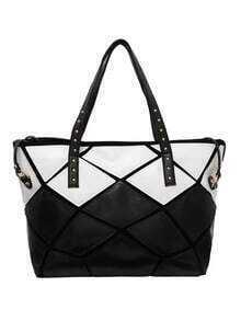 Contrast Geo Pathwork Studded Faux Leather Tote Bag