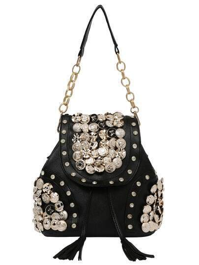 Carved Button & Rhinestone Studded Backpack