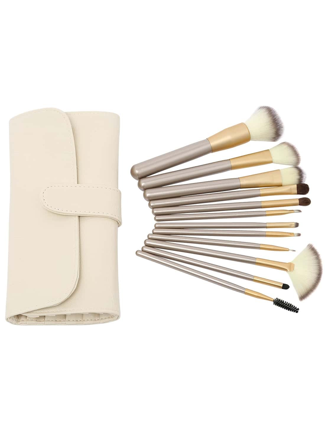 Image of 12PCS Make Up Bush Set With Bag - Beige