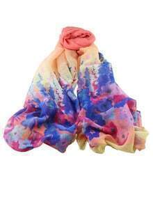 Yellow Flower Printed Voile Scarf