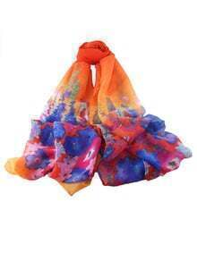 Orange Flower Printed Voile Scarf