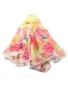 Yellow Artificial Silk Printed Scarf