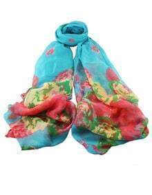 Lightblue Voile Flower Printed Scarf